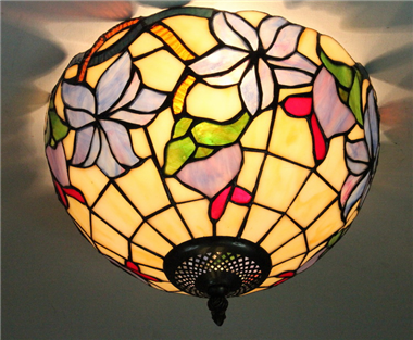 CE120039 12 inch tiffany ceiling lamp Round Glass Flush Mount Ceiling Lighting