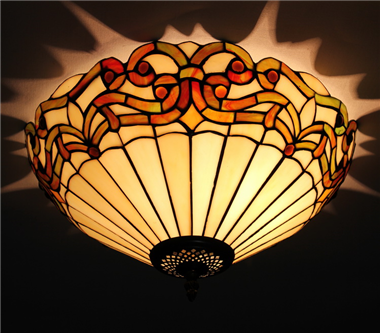 CE120040 12 inch tiffany ceiling lamp Round Glass Flush Mount Ceiling Lighting