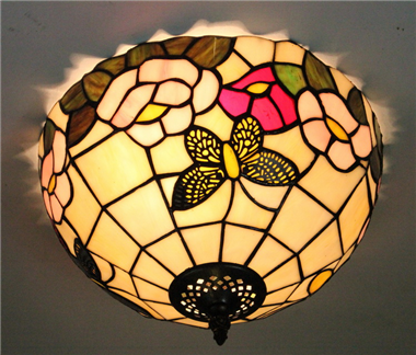 CE120041 12 inch tiffany ceiling lamp Round Glass Flush Mount Ceiling Lighting