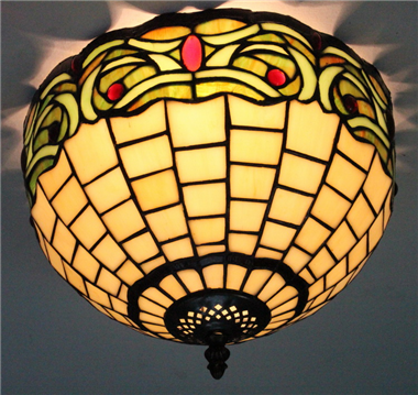 CE120042 12 inch tiffany ceiling lamp Round Glass Flush Mount Ceiling Lighting
