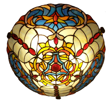CE160001 16 inch tiffany ceiling lamp Round Glass Flush Mount Ceiling Lighting