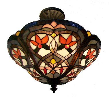 CE160002 16 inch tiffany ceiling lamp Round Glass Flush Mount Ceiling Lighting
