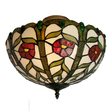 CE160004 16 inch tiffany ceiling lamp Round Glass Flush Mount Ceiling Lighting