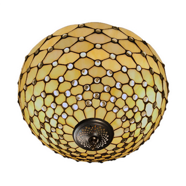 CE160007 16 inch tiffany ceiling lamp Round Glass Flush Mount Ceiling Lighting