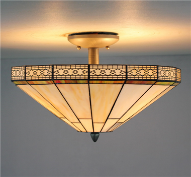 CE160009 16 inch tiffany ceiling lamp Round Glass Flush Mount Ceiling Lighting