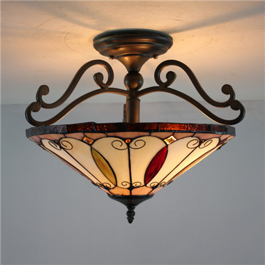 CE160010 16 inch tiffany ceiling lamp Round Glass Flush Mount Ceiling Lighting