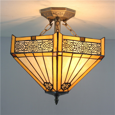 CE160011 16 inch tiffany ceiling lamp Round Glass Flush Mount Ceiling Lighting