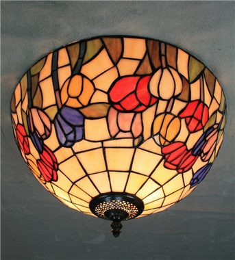 CE160013 16 inch tiffany ceiling lamp Round Glass Flush Mount Ceiling Lighting