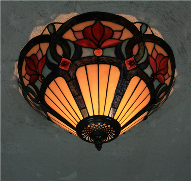 CE160014 16 inch tiffany ceiling lamp Round Glass Flush Mount Ceiling Lighting