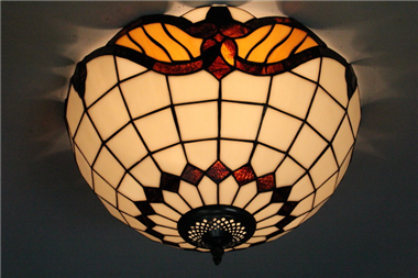 CE160015 16 inch tiffany ceiling lamp Round Glass Flush Mount Ceiling Lighting