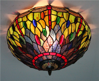 CE160017 16 inch tiffany ceiling lamp Round Glass Flush Mount Ceiling Lighting