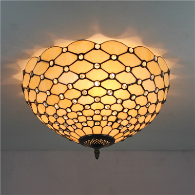 CE160018 16 inch tiffany ceiling lamp Round Glass Flush Mount Ceiling Lighting