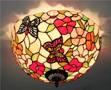 CE160019 16 inch tiffany ceiling lamp Round Glass Flush Mount Ceiling Lighting
