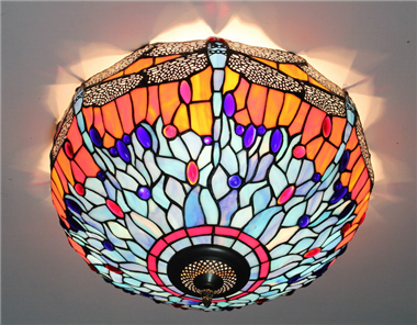 CE160020 16 inch tiffany ceiling lamp Round Glass Flush Mount Ceiling Lighting