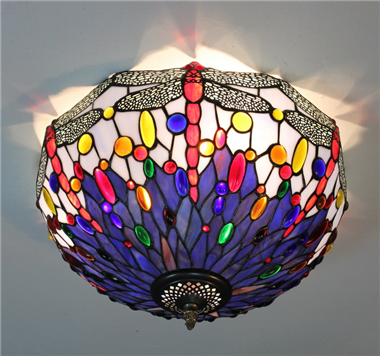 CE160021 16 inch tiffany ceiling lamp Round Glass Flush Mount Ceiling Lighting