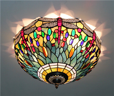 CE160022 16 inch tiffany ceiling lamp Round Glass Flush Mount Ceiling Lighting