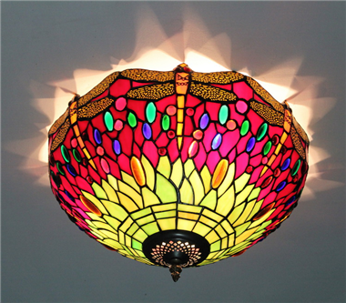 CE160023 16 inch tiffany ceiling lamp Round Glass Flush Mount Ceiling Lighting