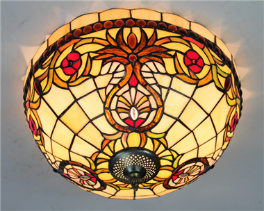 CE160024 16 inch tiffany ceiling lamp Round Glass Flush Mount Ceiling Lighting