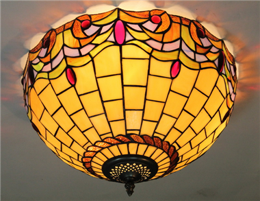 CE160025 16 inch tiffany ceiling lamp Round Glass Flush Mount Ceiling Lighting