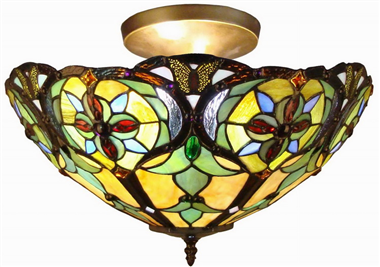 CE160026 16 inch tiffany ceiling lamp Round Glass Flush Mount Ceiling Lighting