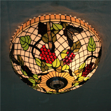 CE200001 20 inch tiffany ceiling lamp Round Glass Flush Mount Ceiling Lighting