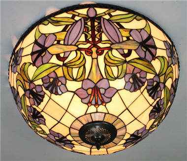 CE200007 20 inch tiffany ceiling lamp Round Glass Flush Mount Ceiling Lighting