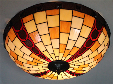 CE200012 20 inch tiffany ceiling lamp Round Glass Flush Mount Ceiling Lighting