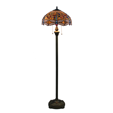 FL160002 16 inch Tiffany floor lamp  of dragonfly stained glass floor lamp from China