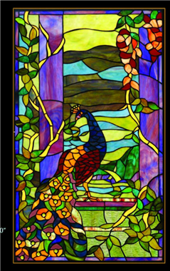 GP00036  Peacock Tiffany Style stained glass window panel