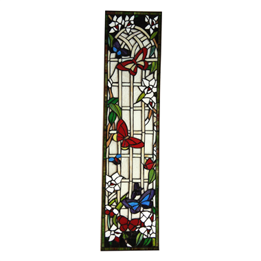 GP00038  Butterfly garden Tiffany Style stained glass window panel Wall hanging ornaments