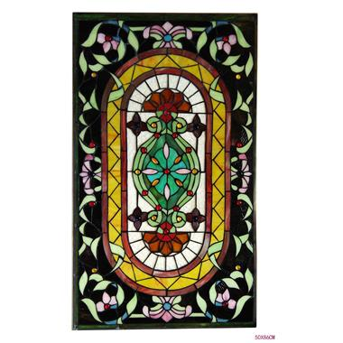 GP00040   Tiffany Style stained glass window panel Wall hanging ornaments