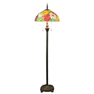 FL160017 16 inch Two lights Tiffany floor lamp stained glass floor lamp from China