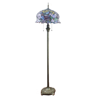 FL160022 16 inch Two lights Tiffany floor lamp stained glass floor lamp from China