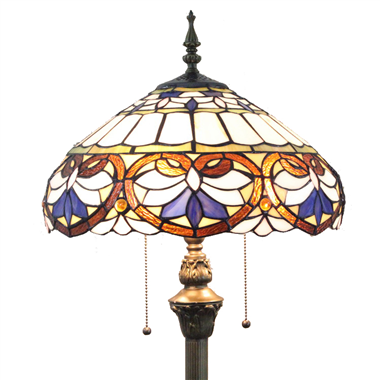 FL160028 16 inch Two lights Tiffany style floor lamp stained glass floor lamp wholesale