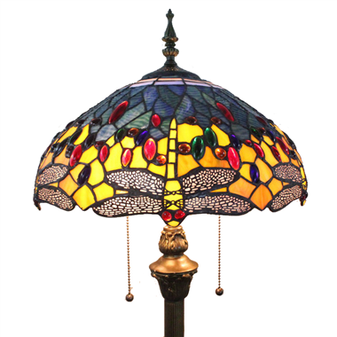 FL160030 16 inch Two lights dragonfly Tiffany floor lamp stained glass floor lamp from China