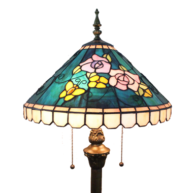 FL160035 16 inch Two lights Tiffany floor lamp stained glass floor lamp from China 落地灯