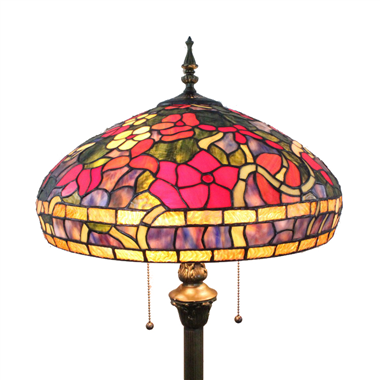 FL160038 16 inch Two lights flower Tiffany floor lamp stained glass floor lamp from China