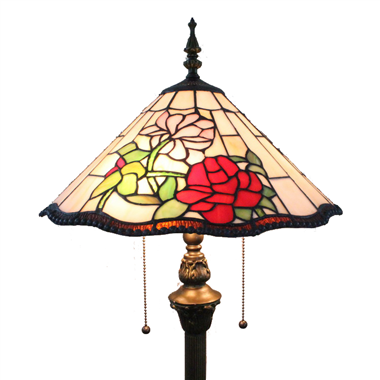 FL160039 16 inch Two lights flower Tiffany floor lamp stained glass floor lamp from China  39