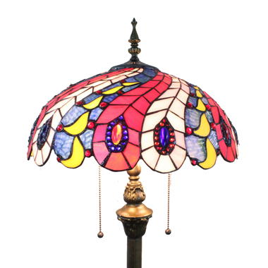 FL160041 16 inch Two lights Tiffany floor lamp stained glass floor lamp from China