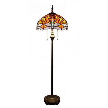FL160049 16 inch Two lights  dragonfly Tiffany floor lamp stained glass floor lamp from China