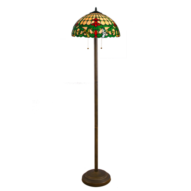 FL160051 16 inch Two lights Tiffany floor lamp stained glass floor lamp from China
