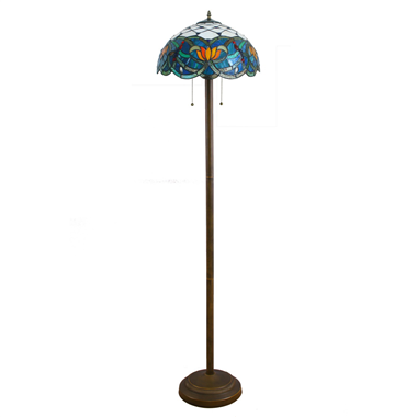 FL160052 16 inch Two lights Tiffany floor lamp stained glass floor lamp from China