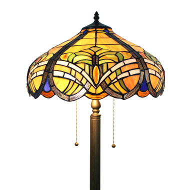 FL160053 16 inch Two lights Tiffany floor lamp stained glass floor lamp from China