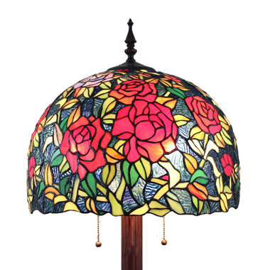 FL160061 16 inch Two lights rose Tiffany floor lamp stained glass floor lamp from China