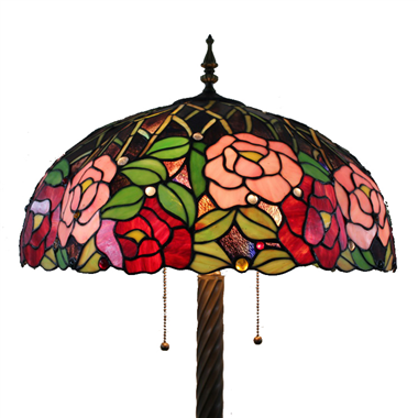 FL160063 16 inch Two lights rose Tiffany floor lamp stained glass floor lamp from China