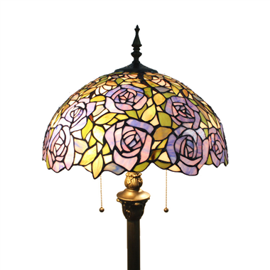 FL160068 16 inch Two lights rose Tiffany floor lamp stained glass floor lamp from China