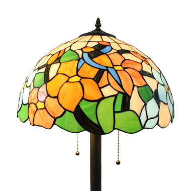 FL160070 16 inch Two lights Tiffany floor lamp stained glass floor lamp from China