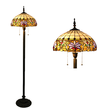 FL160072 16 inch Two lights Tiffany floor lamp stained glass floor lamp from China