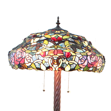 FL200115 20 inch Three lights rose flower Tiffany floor lamp stained glass floor lamp from China