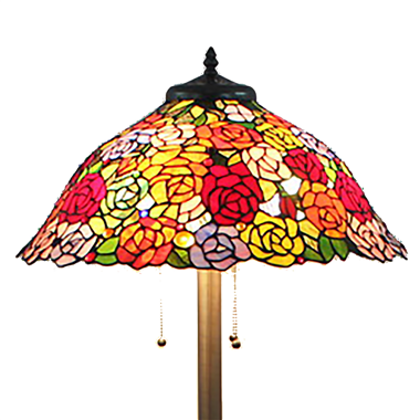 FL200103 20 inch Three lights rose Tiffany floor lamp stained glass floor lamp from China